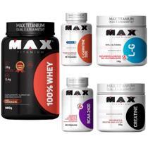 KIT TREINO COMPLETO: 100% Whey + BCAA + Creatina + Glutamina + L-Carnitina - Max Titanium