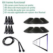 Kit treino funcional - 6 cones + 6 discos + escadinha treino+ corda pular PVC - Rn