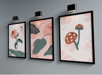Kit Três Quadros 45x33cm - Abstrato Floral, Folhas, Cogumelo - Com Moldura Preta e Vidro - Rio Paris Decorações