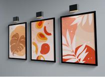 Kit Três Quadros 45x33cm- Abstrato Floral Folhas - Com Moldura Preta e Vidro - Rio Paris Decorações