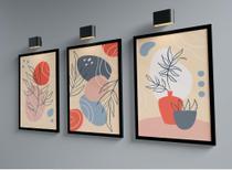 Kit Três Quadros 45x33cm- Floral Folhas Formas Abstratas - Com Moldura Preta e Vidro - Rio Paris Decorações