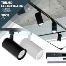Kit Trilho Eletrificado 1m + 4 Spots Led 7w Preto Ou Branco - Uberparts