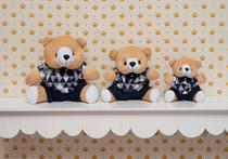 Kit Trio Ursinhos De Pelúcia Para Nicho Decoração Quarto Bebê Azul - Marizete