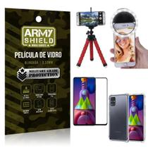 Kit Tripé Flex + Flash Ring Galaxy M51 + Capa + Película 3D - Armyshield