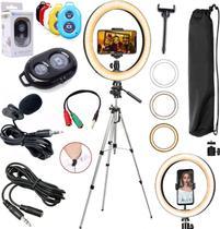 Kit Tripé Profissional Iluminador Led Ring Light Gravação Vídeo Vlog Live Celular + Microfone Lapela Controle Bluetooth - Riosul Store