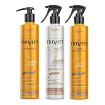 Kit Trivitt (3 Produtos) Cauterização 300ml + Reconstrutor Segredo 300ml + Fluido Para Escova 300ml -