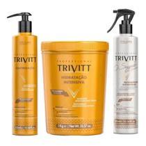 Kit Trivitt Reconstrução Segredo + Máscara Hidratação Intensiva 1kg + Cauterização 300ml -