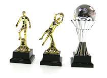 Kit Trofeu 3x1 Futebol Artilheiro Goleiro Bola prata - Vitória -