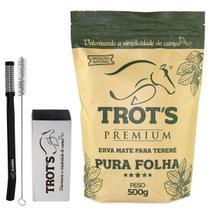 Kit trot's copo de inox 250ml + bomba preta + tereré pura folha 500g -
