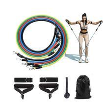 Kit Tubing Elásticos 11 Itens Treinamento Exercício Funcional Fitness Pilates - Ad-008