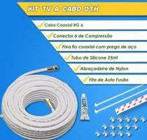 Kit TV a Cabo Completo - Cabo RG6 67 20 Metros + Kit Instalação - Megatron -