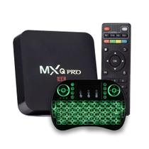 Kit Tv Box Midia Streaming MXQ-Pro 4k + Mini Teclado Universal Smart Tv Com Led - Diversos