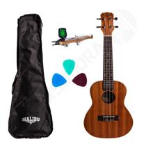 Kit Ukulele Concert Acústico 23S Sapele Malibu + Capa + Afinador + Palhetas -