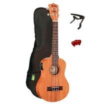 Kit ukulele eletroacústico shelby concert su25me stnt com capa afinador e palhetas -