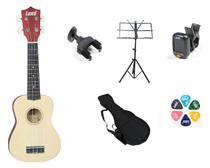 Kit ukulele soprano land+ suporte de parede + acessórios -