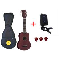 Kit ukulele vogga + afinador smart + capa + palhetas -
