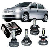 Kit Ultra LED tipo xenon Shocklight Gol G5 2008 2009 2010 2011 2012 farol alto e baixo H4 e milha HB4 -