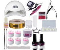 Kit Unha Acrigel Gel Porcelana Fibra Unhas 48w Led Uv Nails  LIxa Rosa Bivolt - Exclusivo