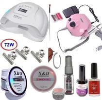 Kit Unhas Gel Led Uv + Cabine 72w + Eletrica + Fibra + XED - X&D