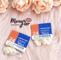 Kit Unhas Postiças Brancas, Cartela Com 24 unhas - Gold Finger