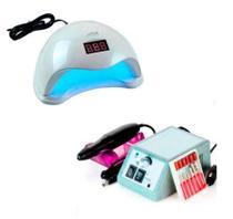 Kit  Unhas Profissionais Gel Acrígel Fibra  Lixadeira Lixa Motor Bivolt + Cabine Led Uv Sun One 5 - Exclusivo
