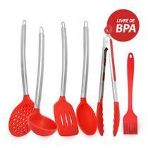 Kit utensilios de cozinha de silicone vermelho cabo inox k4 - Unyhome