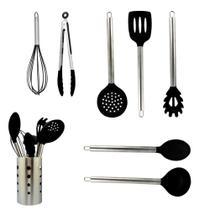 Kit Utensílios de Cozinha Silicone 8 Peças Com Suporte Preto - Kitchen House