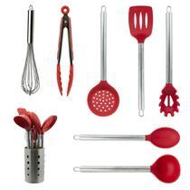 Kit Utensílios de Cozinha Silicone 8 Peças Com Suporte Vermelho - Kitchen House