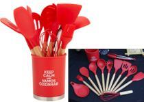 kit Utensílios de silicone cozinha vermelho com suporte 13peças madeira colher concha espatula livre de bpa - Uny
