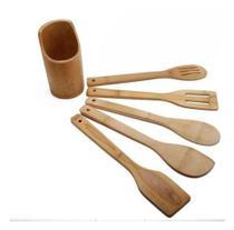 Kit Utensílios Em Bambu Colher Espátula Com Suporte 6 Peças - Dolce Home -