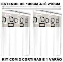 Kit Varão Porta Cortina Banheiro Universal Com 02 Box Ibiza - Fix