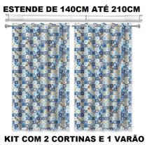 Kit Varão Porta Cortina Banheiro Universal Com 02 Box Lisboa - Fix