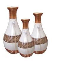 Kit Vasos De Cerâmica Decorativos - Trio de Vasos - Cerâmica Novo Horizonte