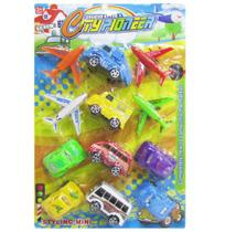Kit veiculo com aviao + carro a friccao pull back city pioneer 12 pecas - Pullpack