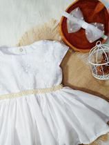 Kit Vestido Batizado Detalhes em Pérola - Little Lolô