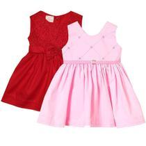 kit Vestido de Bebê Renda Vermelho e Linda Rosa 2 Peças - Melania Babys