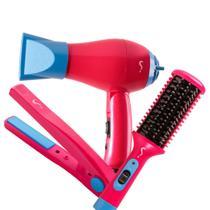 Kit viagem bivolt mini secador dobrável mini chapinha e mini escova modeladora com protetor térmico - Segredo