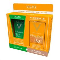 Kit Vichy Protetor Solar Ideal Soleil 50Fps Efeito Base + Gel De Limpeza Profunda Normaderm 40g -