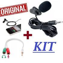 Kit Video Aula Microfone de Lapela Para Celular Smartphone Android + Adaptador P2/ P3 Gravação de Vídeos ( 02 produtos ) - Mkb
