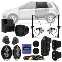 Kit Vidro Elétrico Ford Fiesta Hatch Sedan 03 A 14 4 Portas Sensorizado Traseiro + Alarme H-Buster - Prime