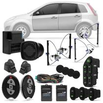 Kit Vidro Elétrico Ford Fiesta Hatch Sedan 03 A 14 Sensorizado 04 Portas + Alarme H-Buster HBA-2000 - Prime