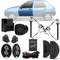 Kit Vidro Elétrico Ford Fiesta Street 96 A 02 4 Portas Sensorizado Dianteiro + Alarme H-Buster - Prime