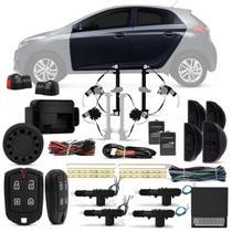 Kit Vidro Elétrico HB20 Hatch HB20S Sedan 2012 a 2018 Completo + Alarme Pósitron e Trava Elétrica - Kit Segurança