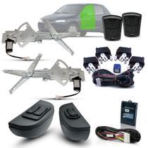 Kit Vidro Eletrico + Trava + Alarme Celta 4 Portas Dianteiro Após 2012 Inteligente - Dial