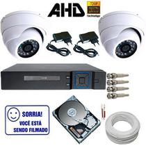 Kit Vigilância 2 Câmeras Dome de Metal AHD 1.3 Megapixel DVR Stand Alone Multi HD - Dvr anko