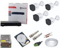 Kit Vigilância Com 4 Câmeras HD Protec + Dvr de 4 canais Protec -