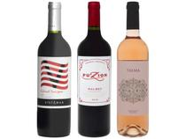 Kit Vinho Rosé Seco Alceno + Vinho Tinto Seco - Zuccardi Fuzion + Vinho Tinto Seco Vistamar 750ml