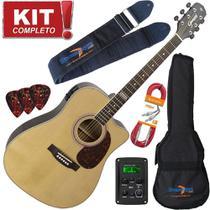 Kit Violão Eletroacústico Folk Gf1d N Natural Giannini Completo Lançamento -