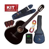 Kit Violão Giannini Eletroacústico Nf14 Bk Nylon c Afinador -