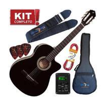 Kit Violão Giannini Eletroacústico Nf14 Bk Nylon Completo -